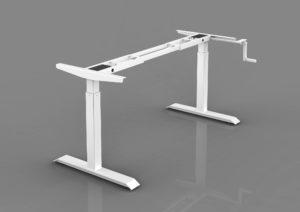 Manual hand cranked height adjustable desk